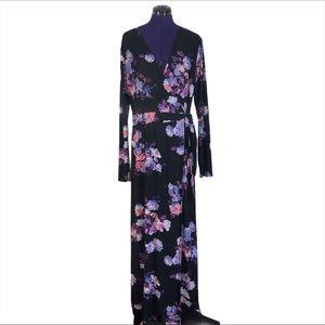 Jennifer Lopez Black Purple Floral Maxi Dress